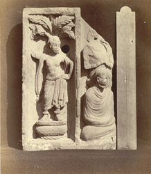 Fragment of carved frieze, representing dancing girl in niche and part of relief scene, Peshawar District